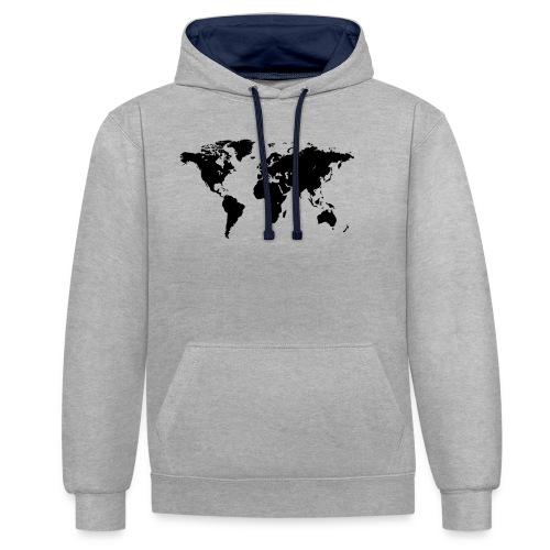World Map - Kontrast-Hoodie