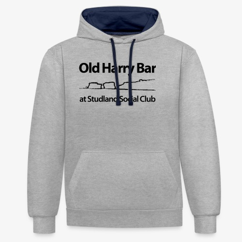 Old Harry Bar logo - black - Contrast Colour Hoodie