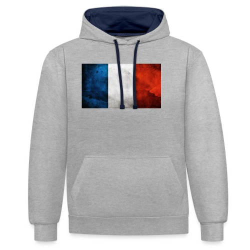 France Flag - Contrast Colour Hoodie