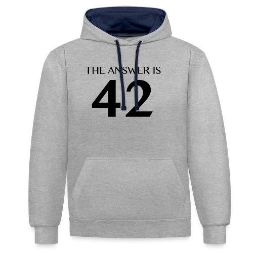 The Answer is 42 Black - Contrast Colour Hoodie