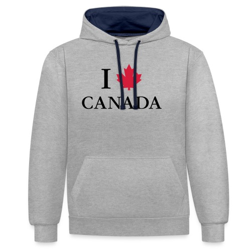 I love Canada Ahornblatt Kanada Vancouver Ottawa - Kontrast-Hoodie