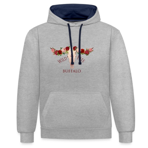 wild and free buffalo - Contrast hoodie