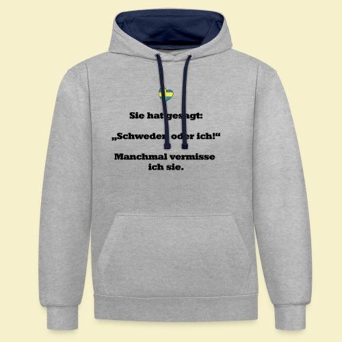 T-Shirt Schweden Herz schwarz für ihn - Kontrast-Hoodie