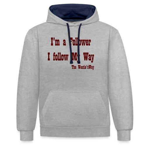 I follow My Way Brown - Bluza z kapturem z kontrastowymi elementami