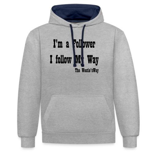 I follow My Way Black - Bluza z kapturem z kontrastowymi elementami