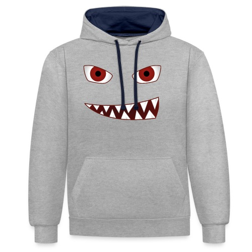 smiling devil emoticon grinning red demon - Kontrast-Hoodie