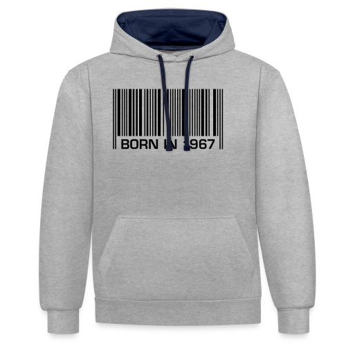 born in 1967 50th birthday 50. Geburtstag barcode - Contrast Colour Hoodie