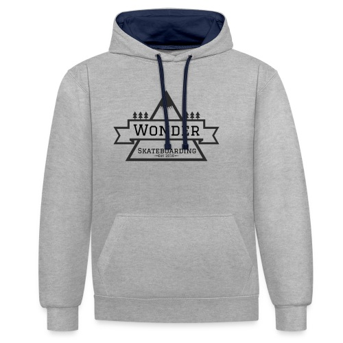 Wonder hoodie no hat - Mountain logo - Kontrast-hættetrøje