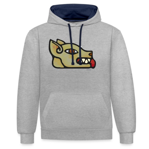 Aztec Icon Dog - Contrast Colour Hoodie