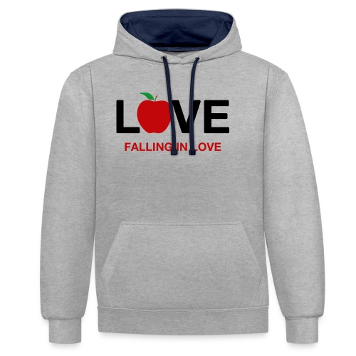 Falling in Love - Black - Contrast Colour Hoodie