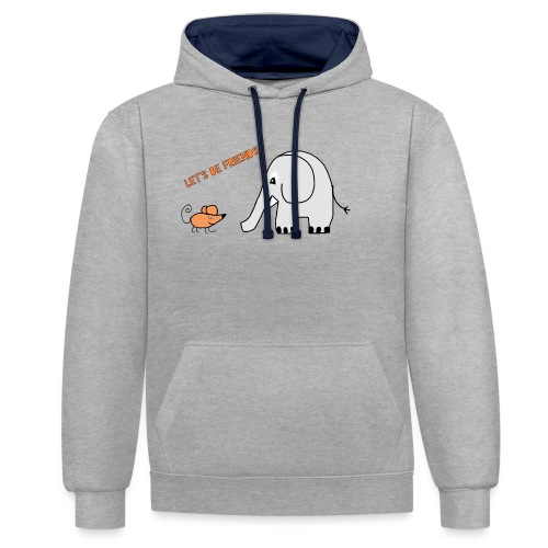 Elephant and mouse, friends - Contrast Colour Hoodie
