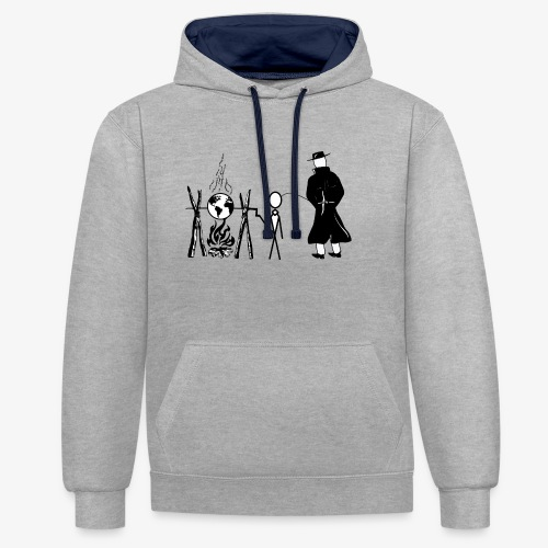 Pissing Man against human self-destruction - Kontrast-Hoodie