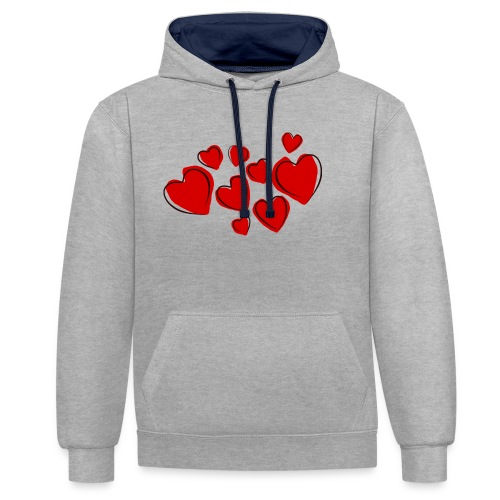 hearts herzen - Kontrast-Hoodie