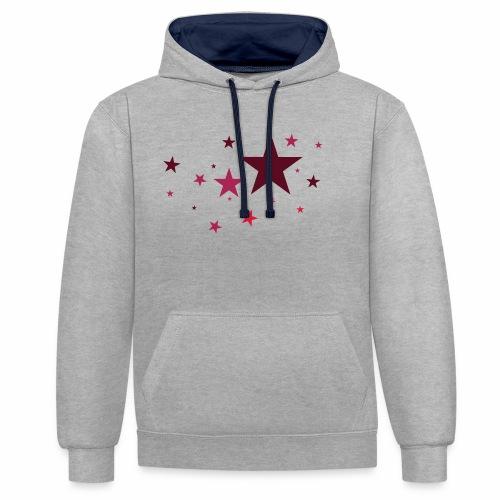 Sterne dreifarbig Vektor - Kontrast-Hoodie
