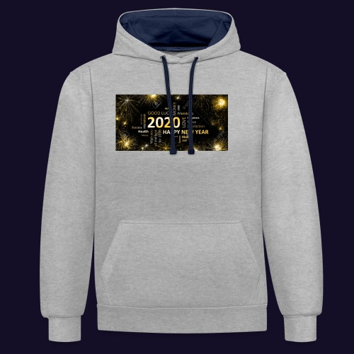 90911595 black golden new year card with happy new - Kontrast-Hoodie