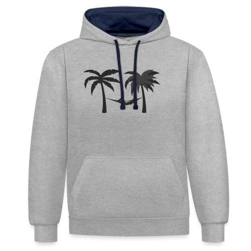 Hängematte mitzwischen Palmen - Kontrast-Hoodie