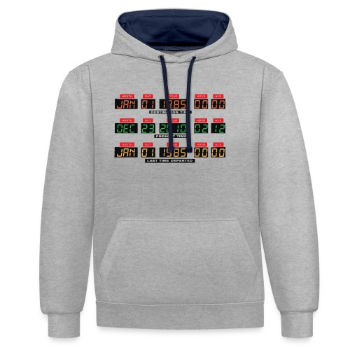 Back To The Future DeLorean Time Travel Console - Contrast Colour Hoodie