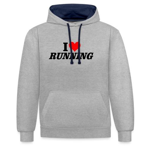 I love running - Kontrast-Hoodie