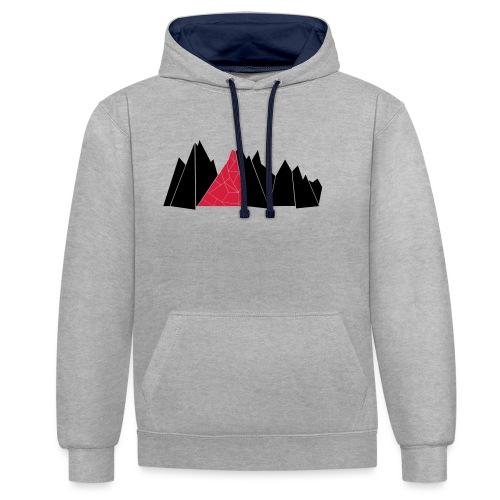 T-Shirt Mountains - Kontrast-Hoodie