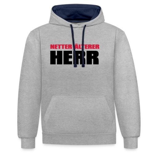 Netter älterter Herr - Kontrast-Hoodie
