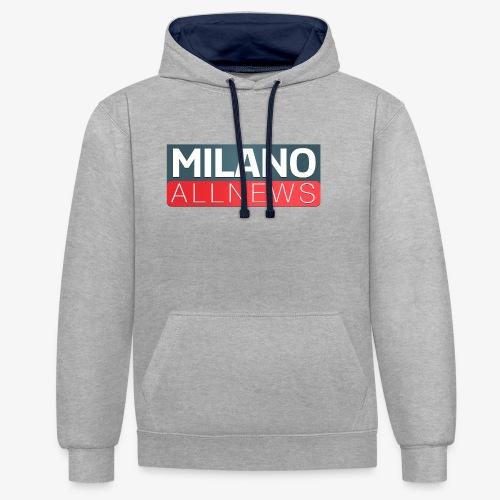 Milano AllNews Logo - Felpa con cappuccio bicromatica