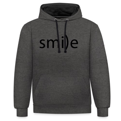 smile Emoticon lächeln lachen Optimist positiv yes - Contrast Colour Hoodie