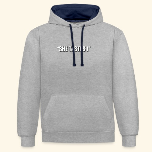 SHE TASTES LOGO WHITE WIT - Contrast Colour Hoodie