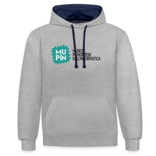 Logo Mupin con scritta - Felpa con cappuccio bicromatica