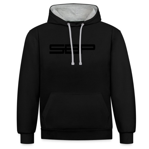 T-shirt white chest emblem black - Contrast Colour Hoodie
