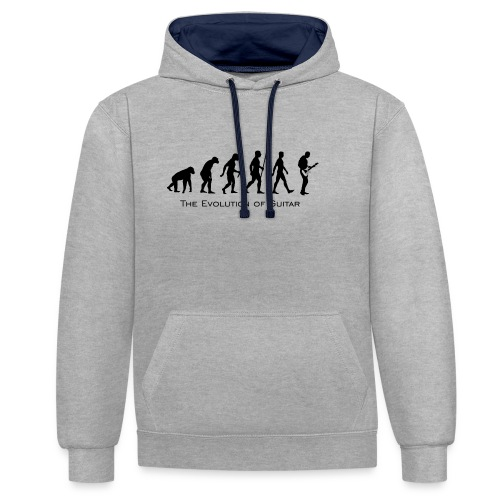 The Evolution Of Guitar - Sudadera con capucha en contraste