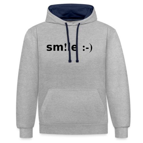 smile - sorridi - Felpa con cappuccio bicromatica