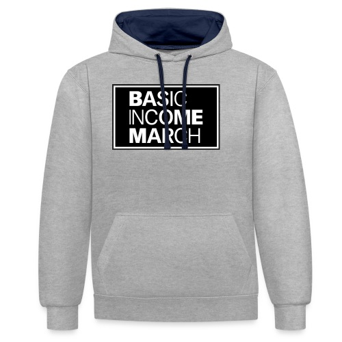 basic income march - Contrast hoodie