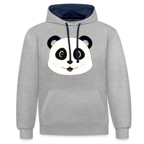 panda rainbow - Sudadera con capucha en contraste