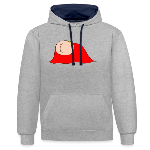 Flying Bum (diagonal) - without text - Contrast Colour Hoodie