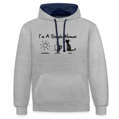 Vorschau: simple woman cats - Kontrast-Hoodie