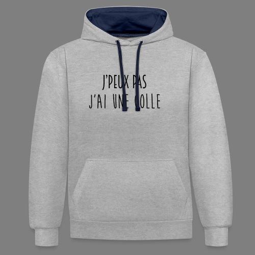J'PEUX PAS, J'AI UNE COLLE [NOIR] - Sweat-shirt contraste