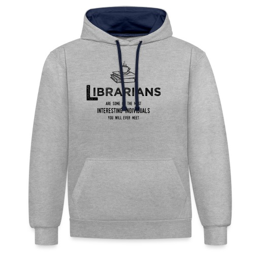 0335 Librarian Cool story Funny Funny - Contrast Colour Hoodie
