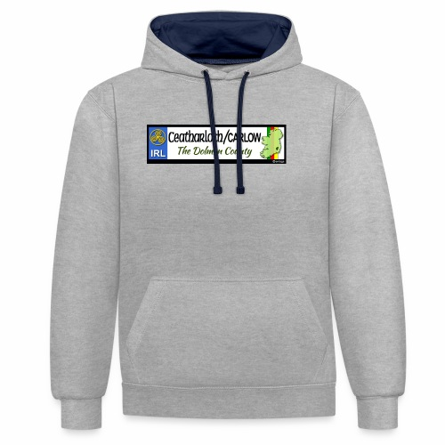 CARLOW, IRELAND: licence plate tag style decal - Contrast Colour Hoodie