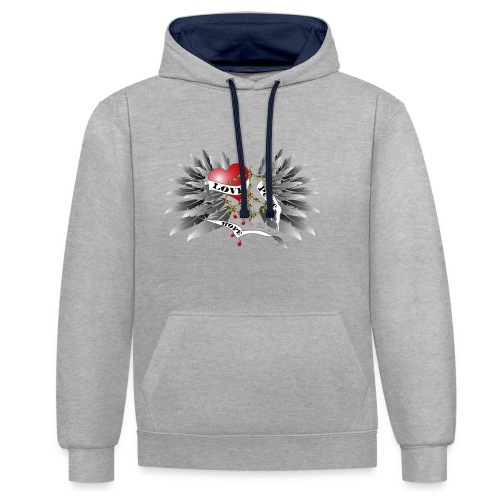 Love, Peace and Hope - Liebe, Frieden, Hoffnung - Kontrast-Hoodie