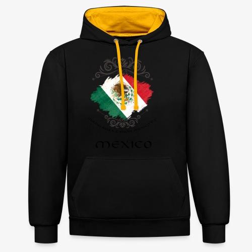 Mexico Vintage Bandera - Kontrast-Hoodie