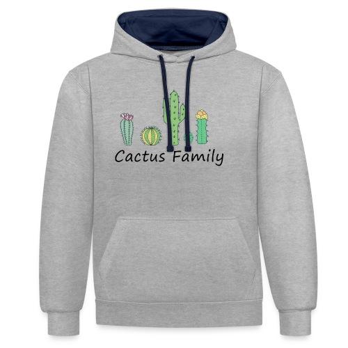 Cactus family - Kontrast-Hoodie