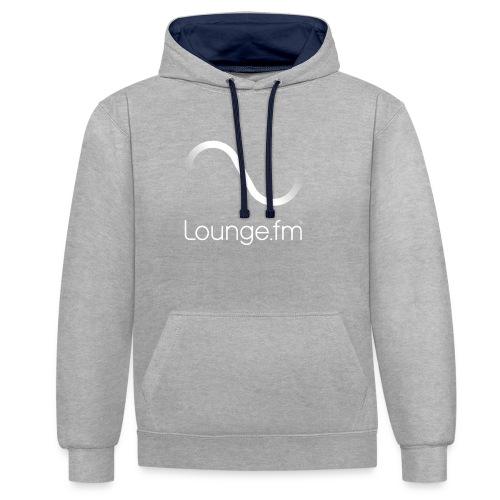 loungefm logo weiss - Kontrast-Hoodie