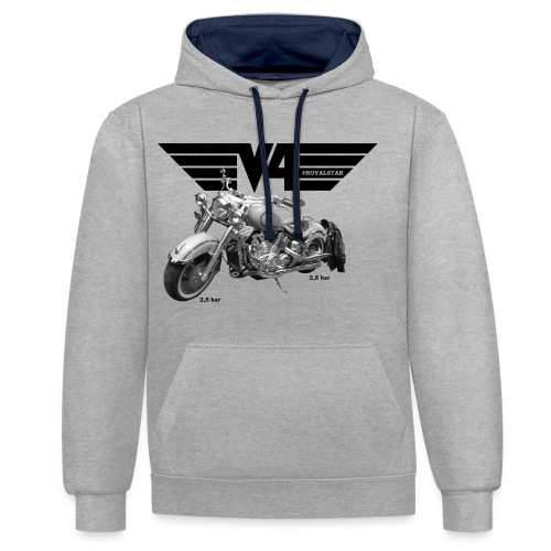 V4 Motorcycles black Wings - Kontrast-Hoodie