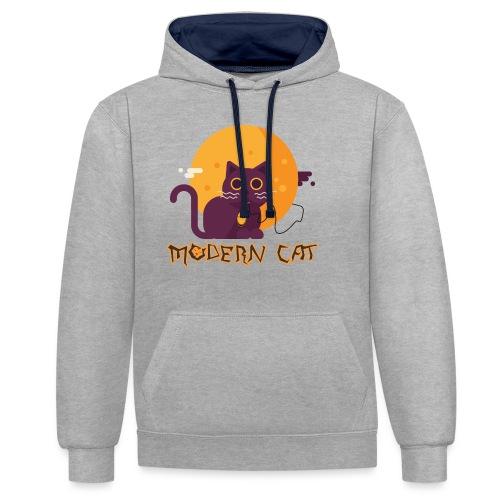 gatto moderno animale topo luna arte animale domestico - Felpa con cappuccio bicromatica