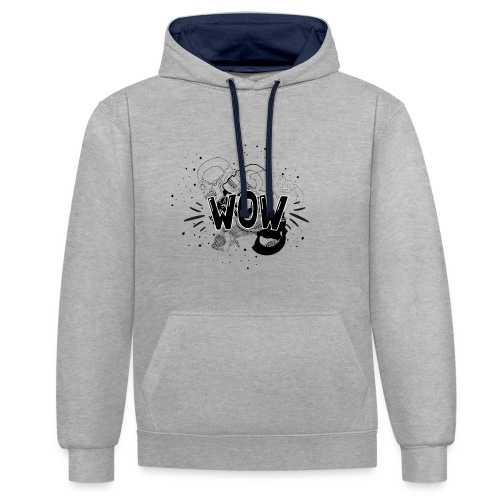 WOW - Contrast Colour Hoodie