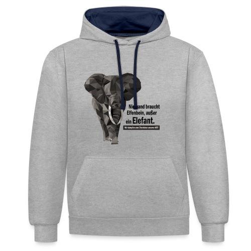 Niemand braucht Elfenbein, außer ein Elefant! - Kontrast-Hoodie