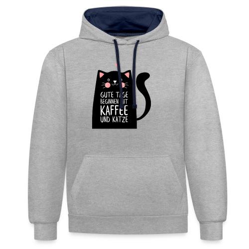 Gute Tage starten mit Kaffee und Katze - Kontrast-Hoodie