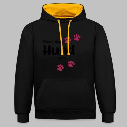 Die Mit Dem Hund Geht - Edition Colored Paw - Kontrast-Hoodie