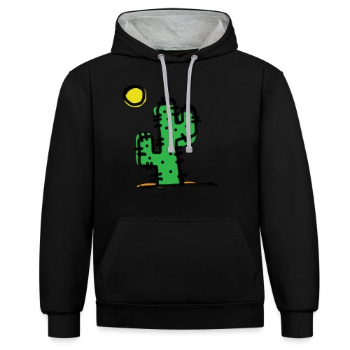 Cactus single - Felpa con cappuccio bicromatica