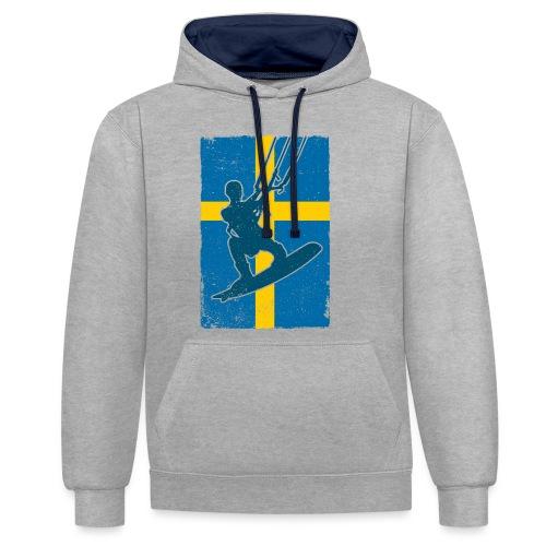 Kitesurfer Sweden - Kontrast-Hoodie